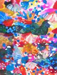 """""""サギがみていた空""""  watercolor,acrylic,paper 18×14cm,2014"""