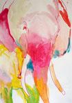 """""""ピンク象""""  water color,acrylic,paper 45.5×60.6cm(額:三々)"""