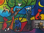 Katzenleben,4x90x30,Acryl-Fingermalerei,2019