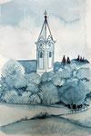 Pfarrkirche Zillingtal, 30x21,Aquarell,2019