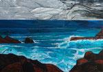 Felsenküste,70x100,Acrylpouring-Mosaik,2019
