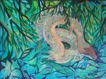 Schlange im Dschungel, Acryl, 30x40, 2020