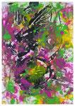 Farbenspiel, Monotypie bearbeitet, Acryl, 40x30,2020