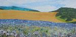 Blaues Distelfeld bei Zillingtal, Acryl, 30x60, 2020