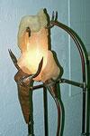 Europa und der Stier / weisser Alabaster, Kupfer, Zinn - Lichtobjekt 2004