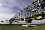 Hauptbrücke der Abraumförderbrücke F60 mit einer Stützweite von 270 m zwischen den beiden Fahrwerken