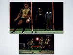 Christiano Ronaldo en een haardloper lopen slalom