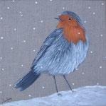 """""""Rouge-gorge sous la neige"""" - acrylique - 20 x 20 cm"""