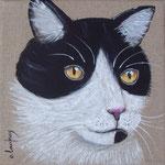 """""""Chat noir et blanc"""" - acrylique - 20 x 20 cm"""