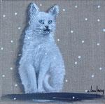 """""""Chat sous la neige"""" - acrylique - 20 x 20 cm"""