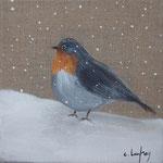 """""""Rouge-gorge sur la neige"""" - acrylique - 20 x 20 cm"""