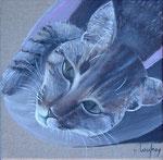 """""""Chat tigré"""" - acrylique - 20 x 20 cm"""