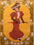 Jugendstil, Dame mit Schirm und Hut, 36x46