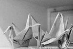 和紙で作った折り鶴