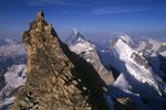 Felsturm, Matterhorn 4478 m, Obergabelhorn 4063 m und Dent d´Herens 4171 m.
