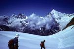 Traumziel Weisshorn 4505 m während des Abstieges immer vor Augen
