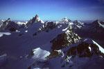 Gipfelblick vom Castor auf Matterhorn und Dent Blanche