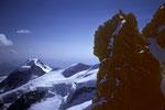 Kletterei in der Scharte zwischen Piz Bianco 3995 m und Piz Bernina 4049 m