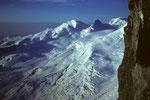 Allalinhorn 4027 m, Strahlhorn 4190 m, Rimpfischhorn 4199 m und Monte Rosa