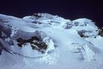 Aufstiegsspur in der Nordflanke mit Barre des Écrins 4102 m, Pic Lory 4086 m und Dome de Neige 4015 m