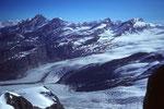 Gipfelblick vom Pollux auf Mischabel, Gorner- und Grenzgletscher
