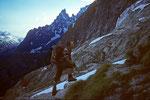 Hüttenaufstieg zum Rifugio Boccalatte e Mario Piolti 2803 m ( Jorasses Hütte )
