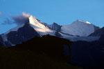 Brunegghorn 3833 m  und Bishorn 4153 m von Grächen