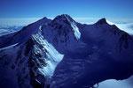 Nordend  4609m, Dufourspitze  4634m und Zumsteinspitze  4563m