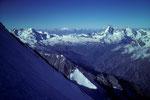 Blick nach Süden bis zum Gran Paradiso 4061 m