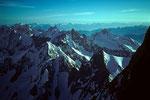 Meer der Berge des Montblanc im Morgenlicht