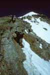Mönch 4107 m Ostgrat im Aufstieg