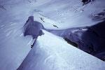 Blick auf die Aufstiegsroute zum Rottalsattel 3885 m