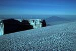 Blick vom Gipfel zum Mount Meru  4562m, der 70 km entfernt ist.