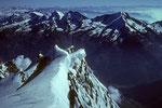 Gipfelblick zu Fletschhorn 3985 m, Lagginhorn 4010 m und Weissmies 4017 m