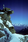 Gran Paradiso mit Marienstatue - Monte Rosa in der Ferne -