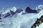 Allalinhorn 4027 m, Strahlhorn 4190 m, Rimpfischhorn 4199 m und Monte Rosa -Tele-