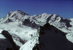 Monte Rosa 4634 m, Liskamm 4527 m und vorne dasTäschhorn 4491 m
