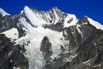 Lenzspitze 4294 m und Nadelhorn 4327 m von der Weissmieshütte