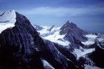 Mönch 4107 m und Jungfrau 4158 m mit Silberhorn 3695 m