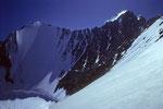 Lenzwand mit Lenzspitze 4294 m und Nadelhorn 4327 m