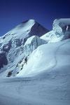 Castor & Pollux mit Seracs und Abstiegsspur