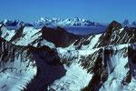Blick auf Monte Rosa, Dom und Matterhorn