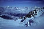 Blick Richtung Zermatt zum Grenz- und Gornergletscher + 4000er am Horizont
