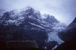 Wetterhorn bei Gewitter mit Neuschnee am 01. August 1983