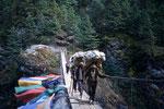 Träger auf der Hillary Brücke  nach Namche Bazar