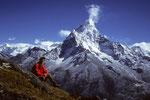 Traumblick vom Sanu Taboche aus 4770 m auf Ama Dablam 6856 m
