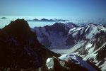 Lauteraarhorn 4042 m im Gegenlicht mit Hugihorn3647 m