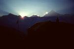 Sonnenuntergang  mit Weisshorn 4505 m von der Täschhütte 2701 m