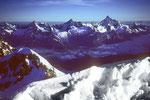 Gipfelblick vom Castor auf Obergabelhorn, Zinalrothorn und Weisshorn