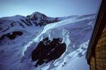 Blick von der Hütte auf den Liskamm Ost 4527 m links  Schneedom (Il Naso) 4272 m